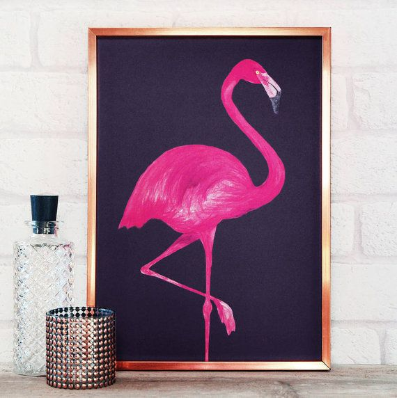 Flamingo Print - Cool poster in A4 or A2 - living room wall art or ...