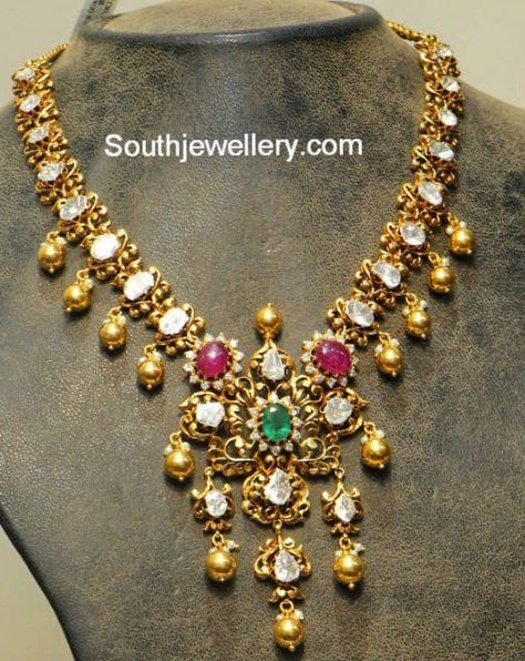 Antique Polki Diamond Necklace Bridal