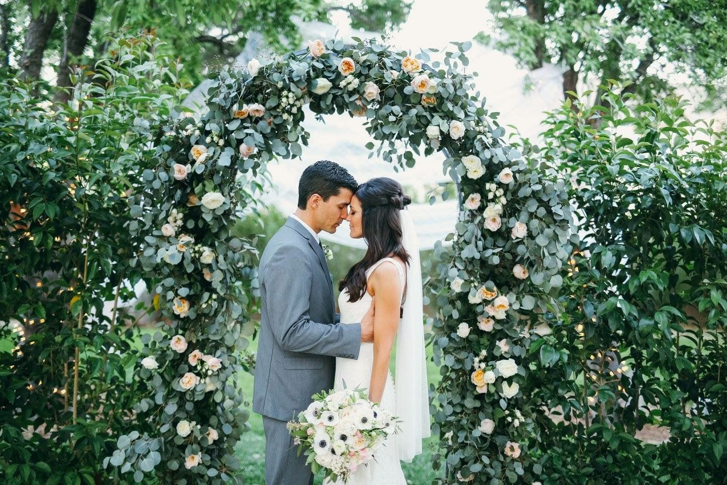 Greenery And Floral Arch At The Grove Las Vegas. Florals