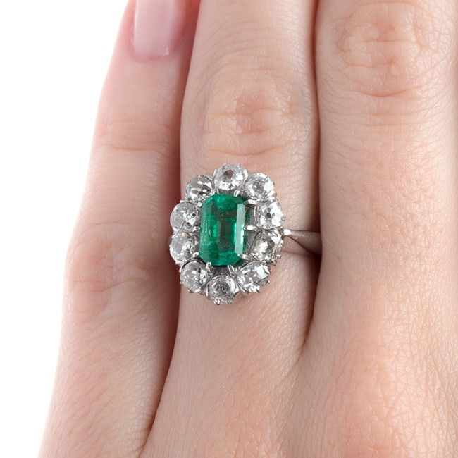 Columbian Emerald Engagement Ring with Sparkling Old Mine Cut