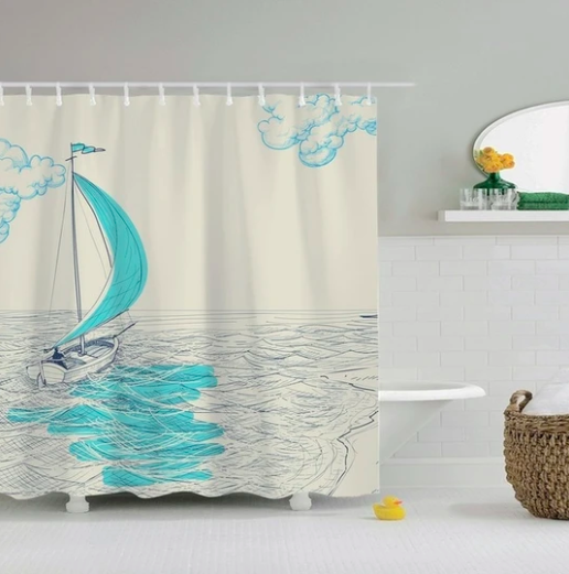 Sailboat Dreams Fabric Shower Curtain In 2020 Nautical Shower