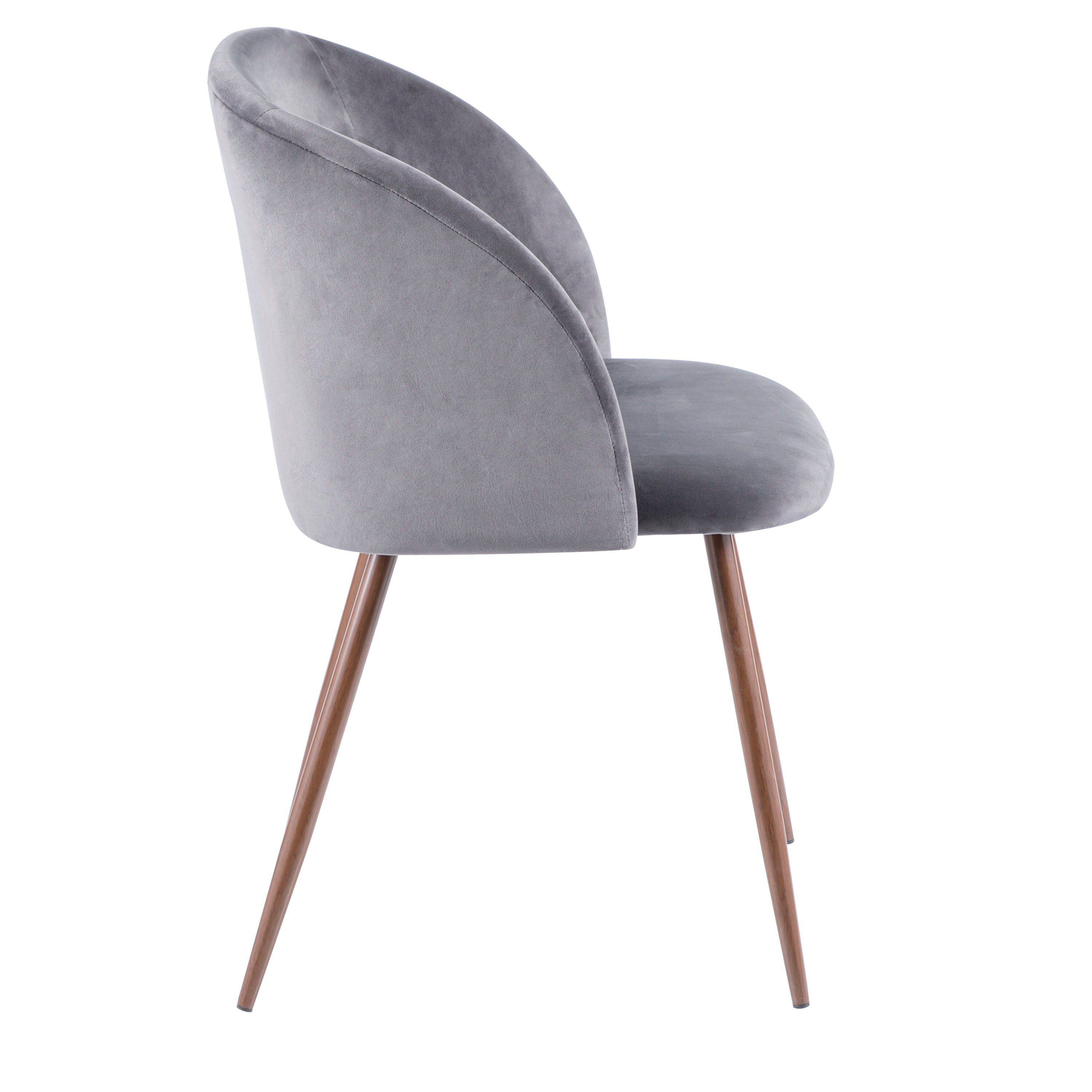 Contemporary Gray Velvet And Walnut Dining Room Chair Set Of 2