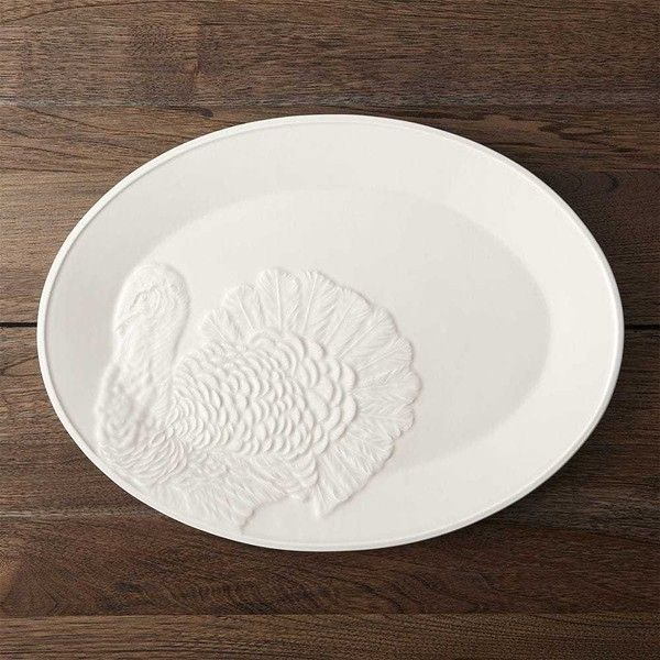 Crate Barrel Embossed Turkey Platter 28 Liked On Polyvore Featuring Home Kitchen Dining Serveware And Thanksgiving