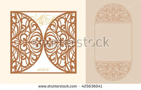 Lazercut vector wedding invitation template wedding invitation lazercut vector wedding invitation template wedding invitation envelope for laser cutting lace gate folds stopboris Image collections
