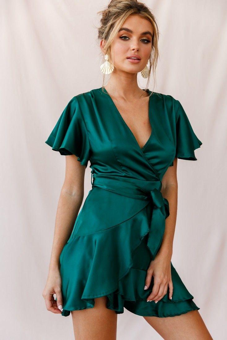 cami angel sleeve faux wrap dress jade | wrap dress short