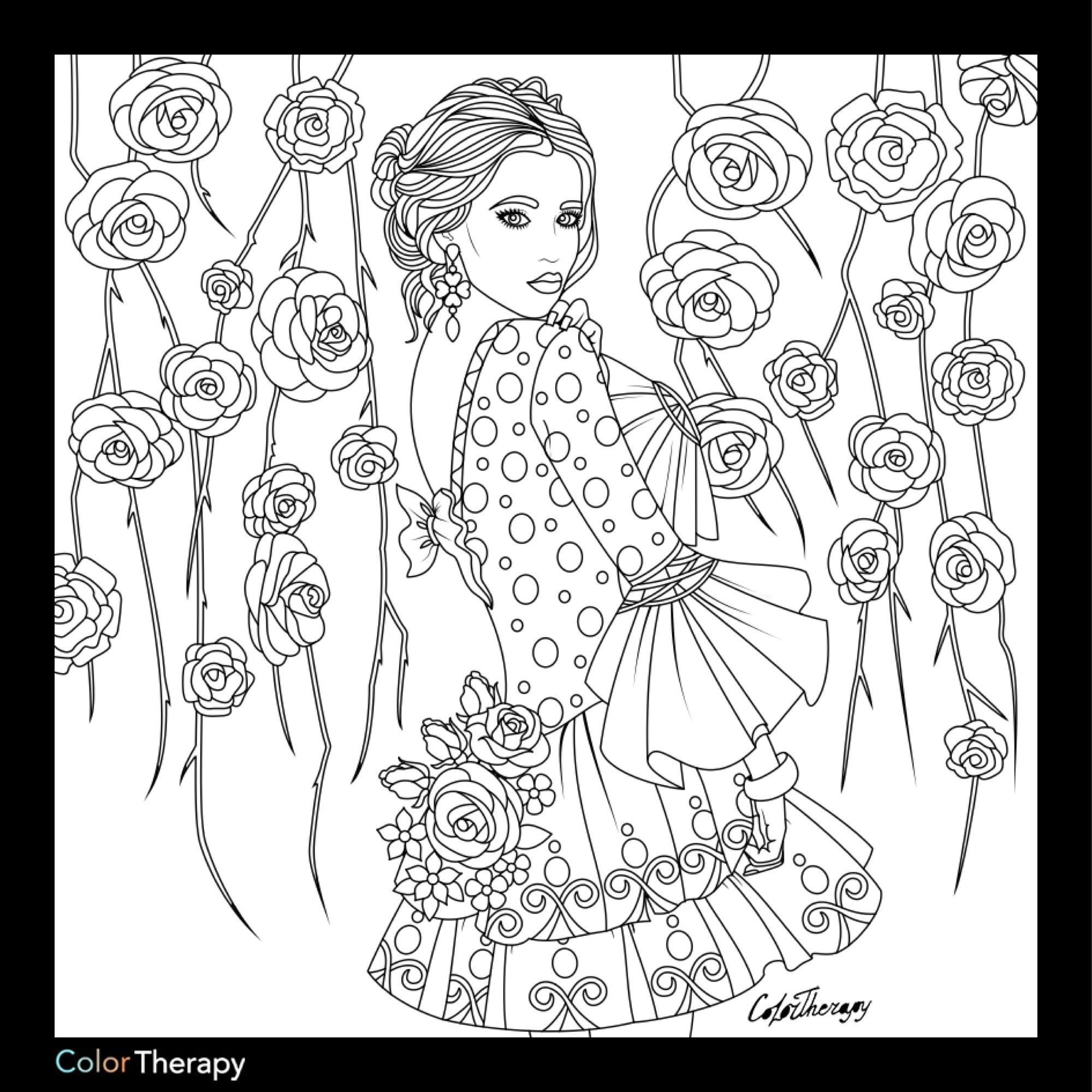 Lady with floral background color with Color Therapy: http://www ...