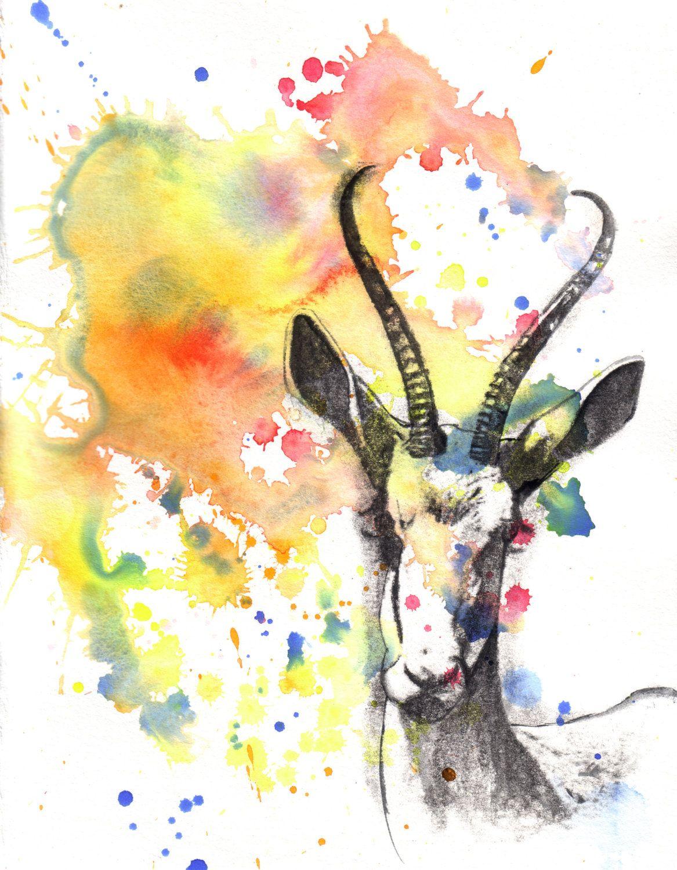 Gazelle Portrait Watercolor Painting - Original Animal Painting ...