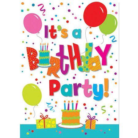 Birthday Jamboree Invitations, 8pk, Multicolor Walmart, Birthdays