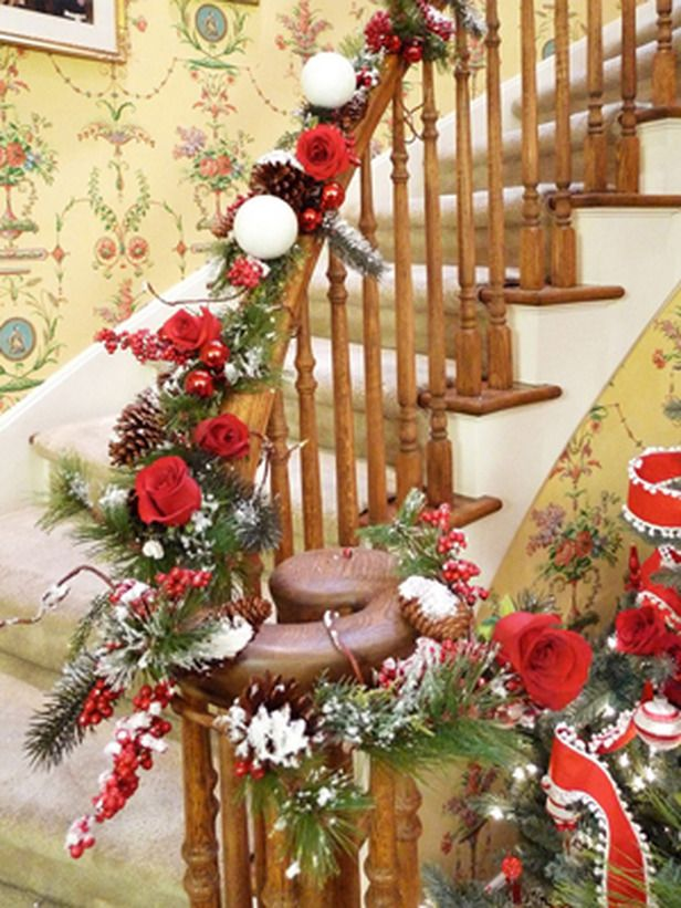 Holiday Banister with Red Roses..Sandra Lee from hgtv - Dream Home 2016: Pool HOLIDAY It...Christmas And Winter