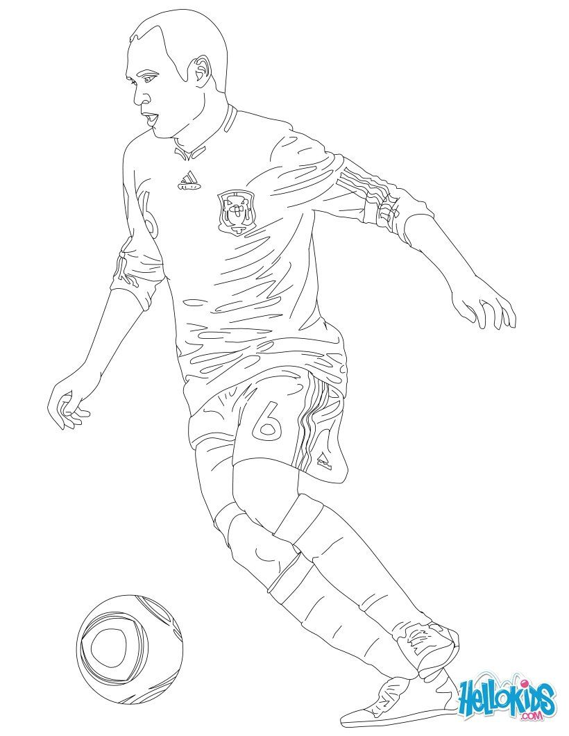 Andres Iniesta coloring page. Coloring sheet for all soccer lovers ...