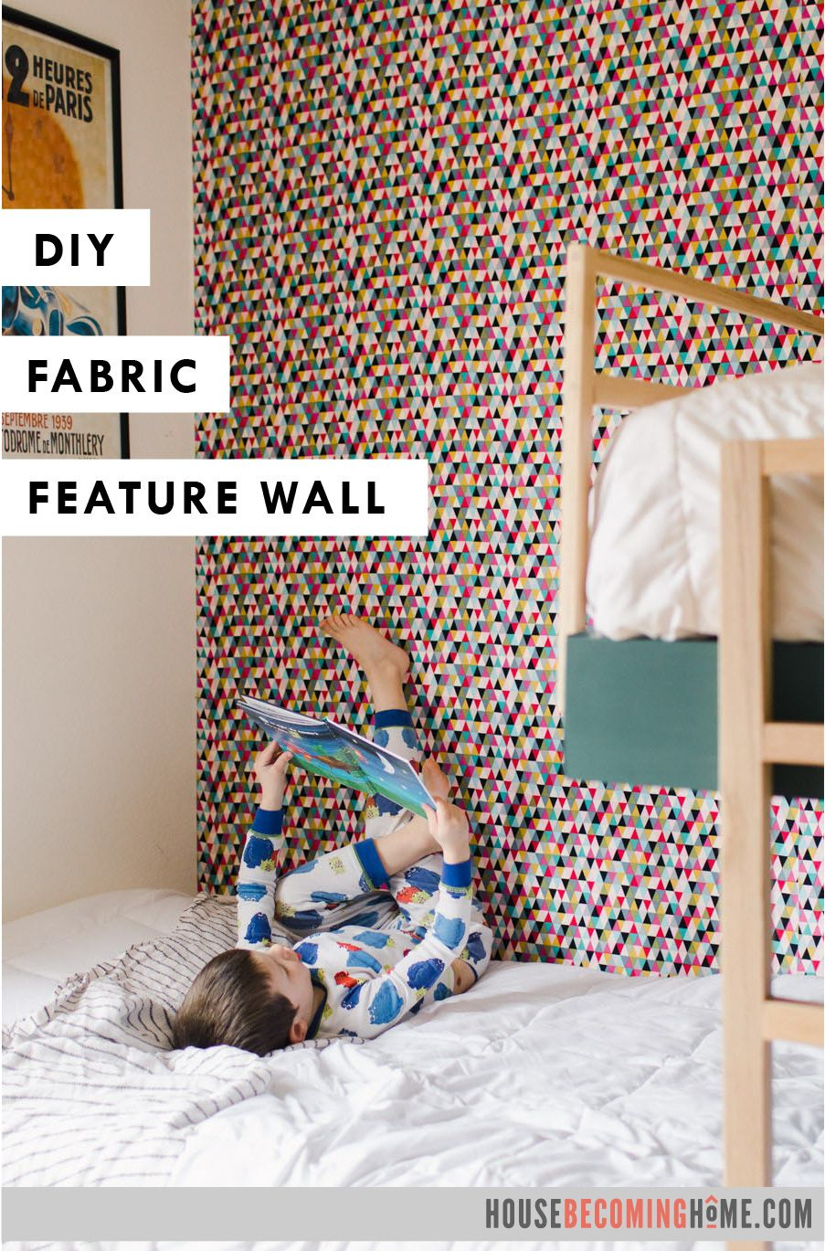 Diy Fabric Feature Wall House Becoming Home In 2020 Temporary Wall Covering Fabric Covered Walls Feature Wall