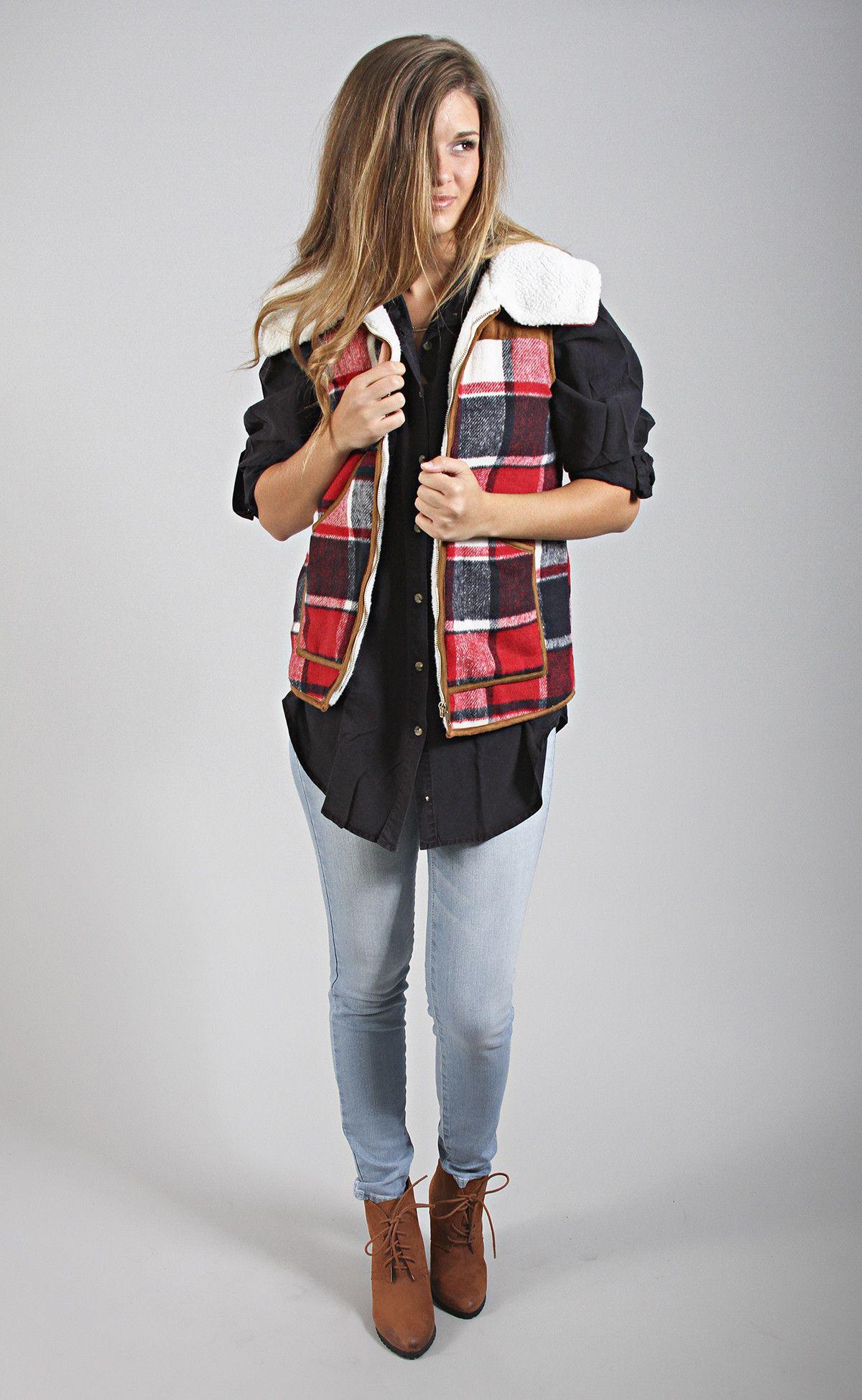 ski lodge plaid fur vest--Get 15% off + Free Shipping w/code 'RiffraffRepLauren' at checkout on ShopRiffraff.com!
