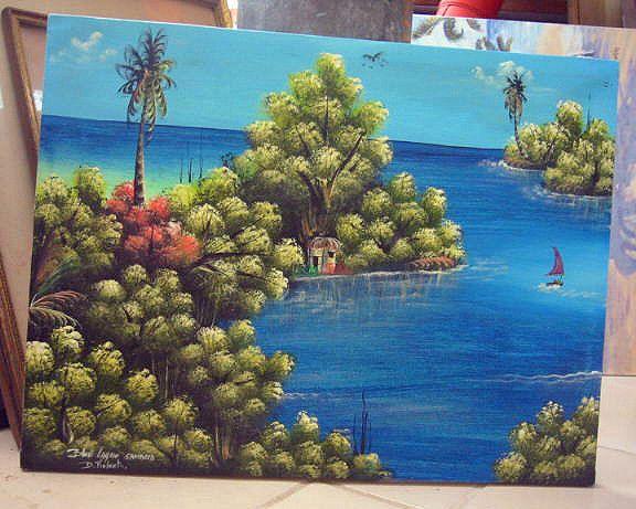 Blue Lagoon Jamaica Signed Painting D. Roberts Haitian Original Oil on Canvas #BlackFolkArt