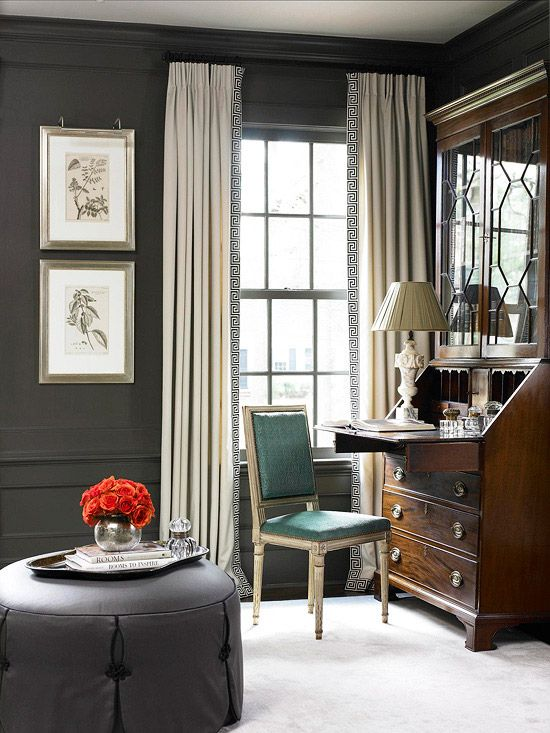 An antique desk is the center of attention in this stunning home office. More home office inspiration: http://www.bhg.com/rooms/home-office/storage/home-office-storage/?socsrc=bhgpin071112#page=2