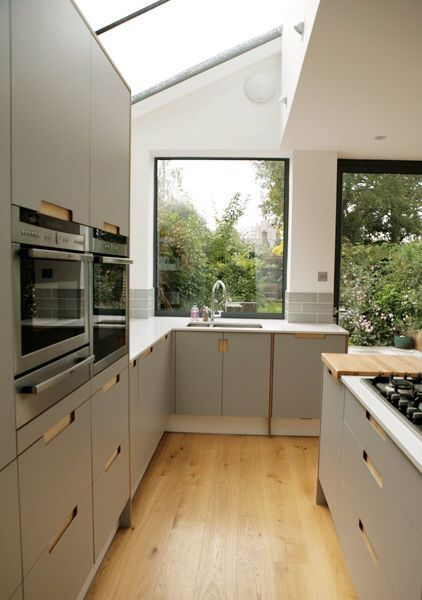 Find Cool L-Shaped Kitchen Design for Your Home Now! #opengalleykitchen