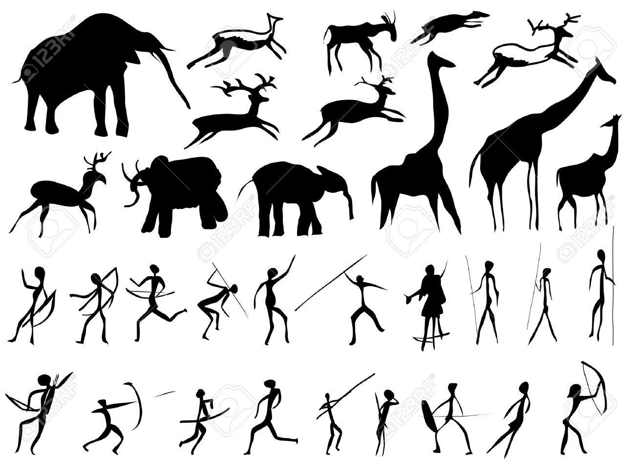 Stock Vector Prehistoric Art Prehistoric Period Paleolithic Art