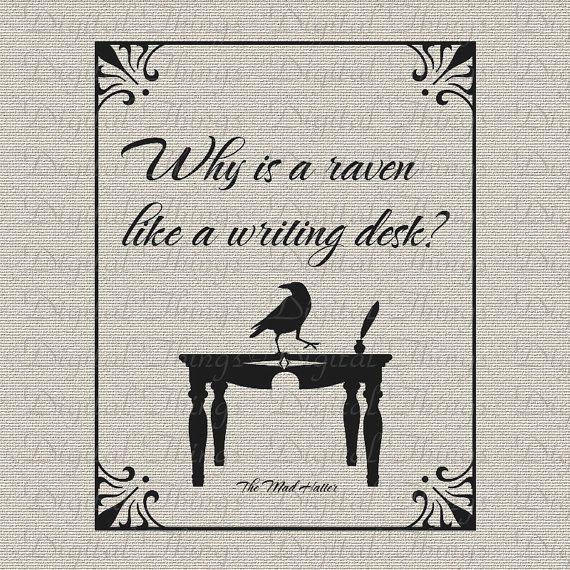 alice in wonderland mad hatter raven writing desk printable digital      rh   pinterest com