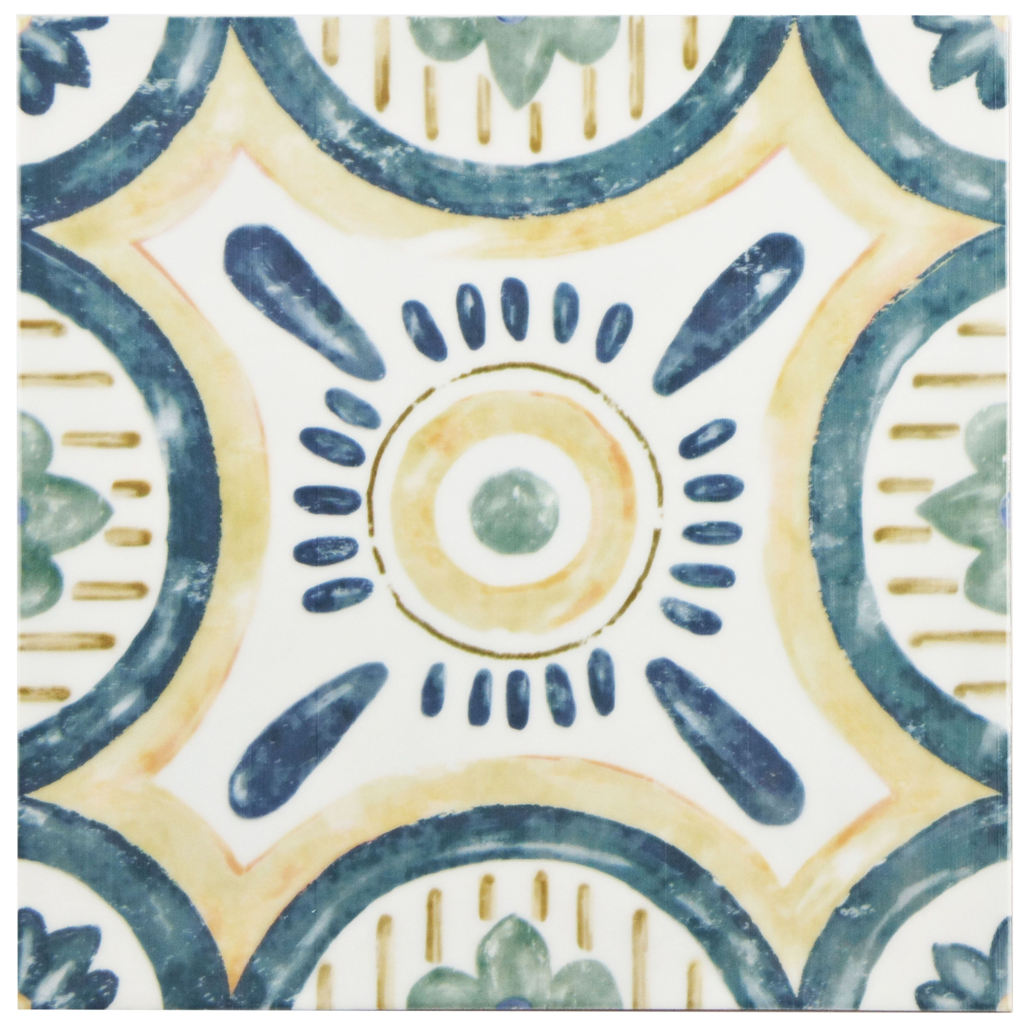The SomerTile 7.75x7.75-inch Borough Isola Ceramic Wall Tile offers a European look. The tile features a watercolor painting design in forest green, navy blue and goldenrod with a high sheen finish.