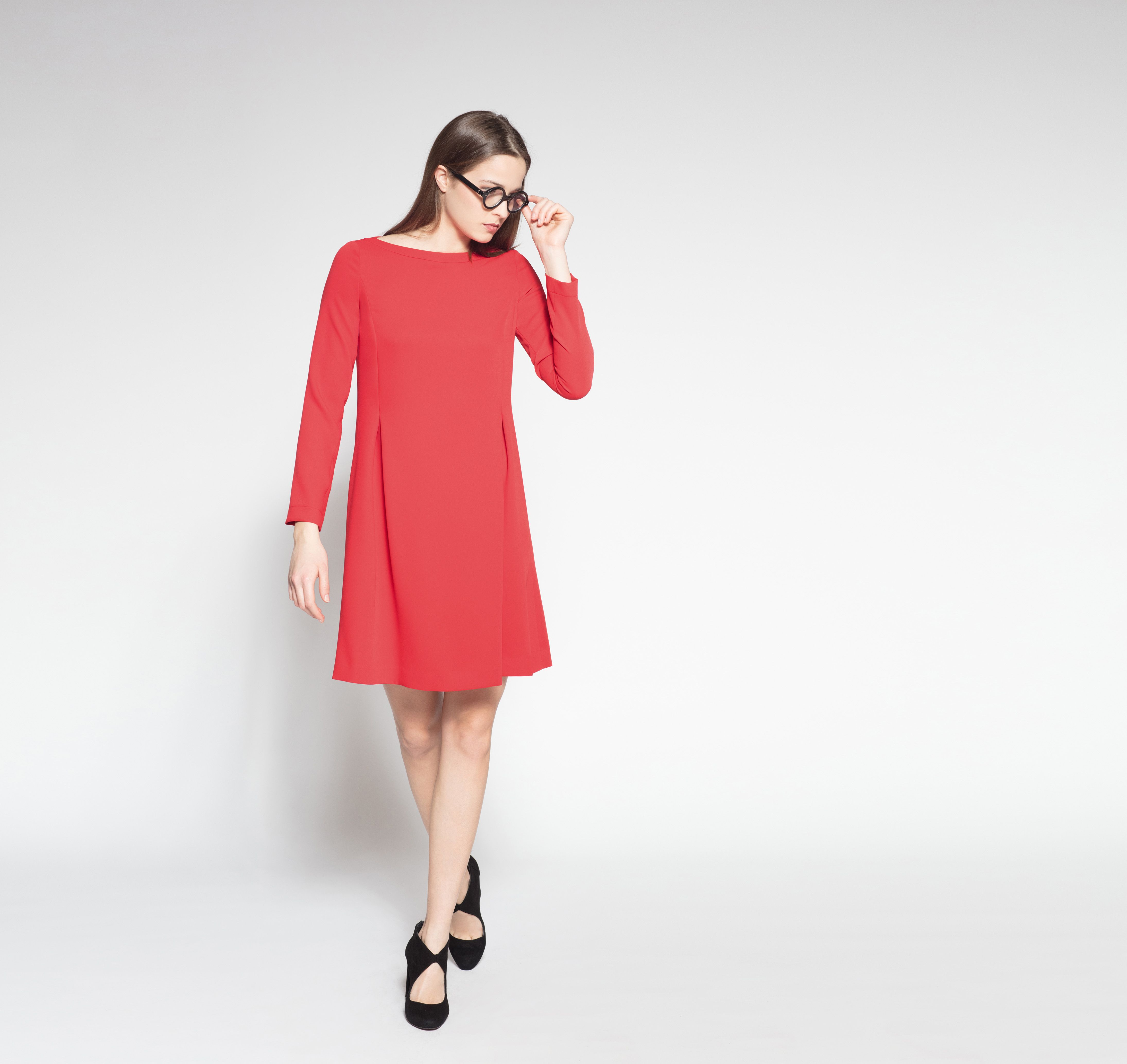 PIU & PIU Winter 15 Kleid Rot Langarm  Kleider mode, Kleider