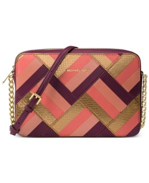 ff3b11af51a8 Michael Michael Kors Marquetry Patchwork Jet Set Travel Large East West  Crossbody - Purple