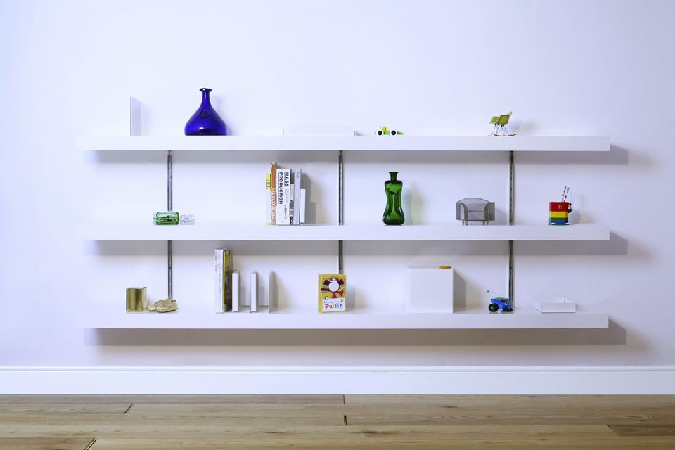 Beautiful White Wall Shelves Part - 12: LS White Shelves With No Wall Panels