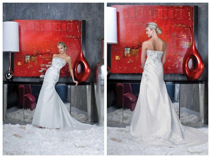 Satin Strapless Applique Beading Mermaid Wedding Dress