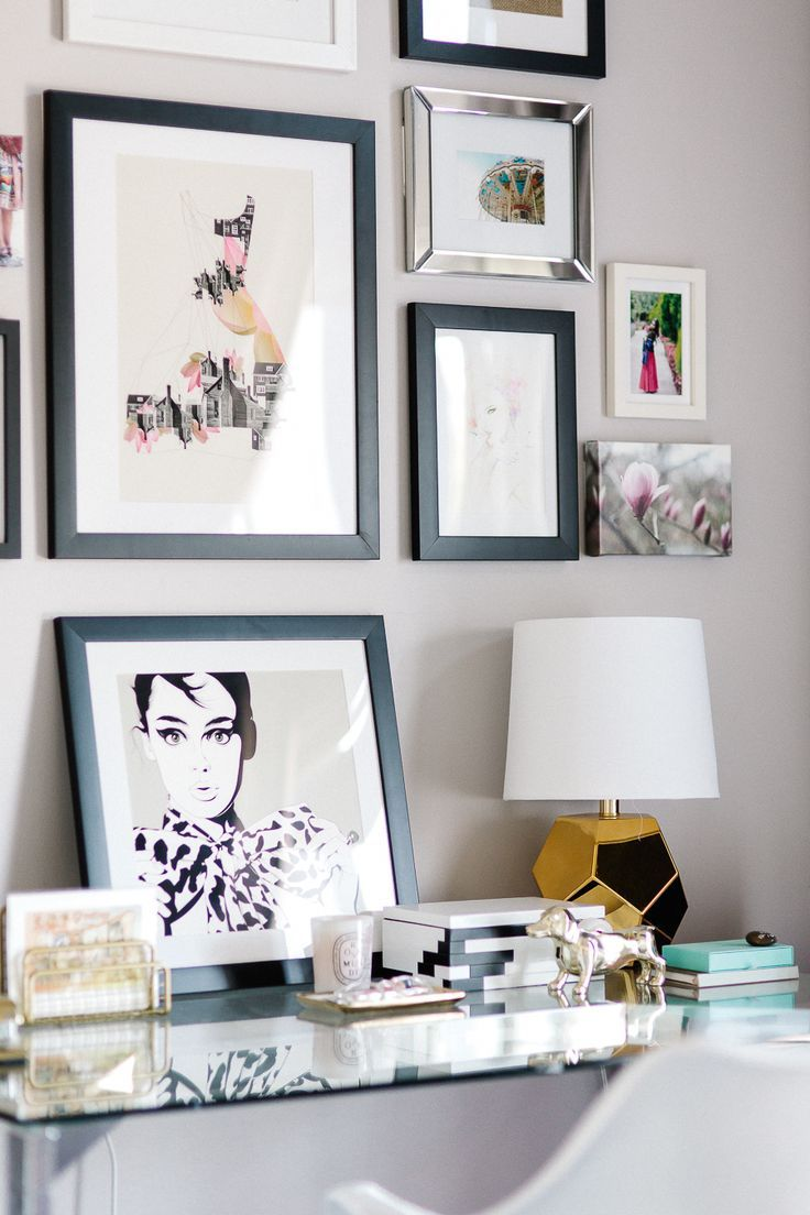 gallery wall decorating the office Read More on SMP: http://www.stylemepretty.com/living/2016/08/15/balancing-a-modern-office-space-with-the-perfect-touch-of-pink/