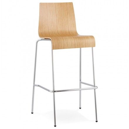 Tabouret De Bar Design Saone En Bois Et Metal Chrome Naturel Tabouret De Bar Design Tabouret De Bar Meuble De Style