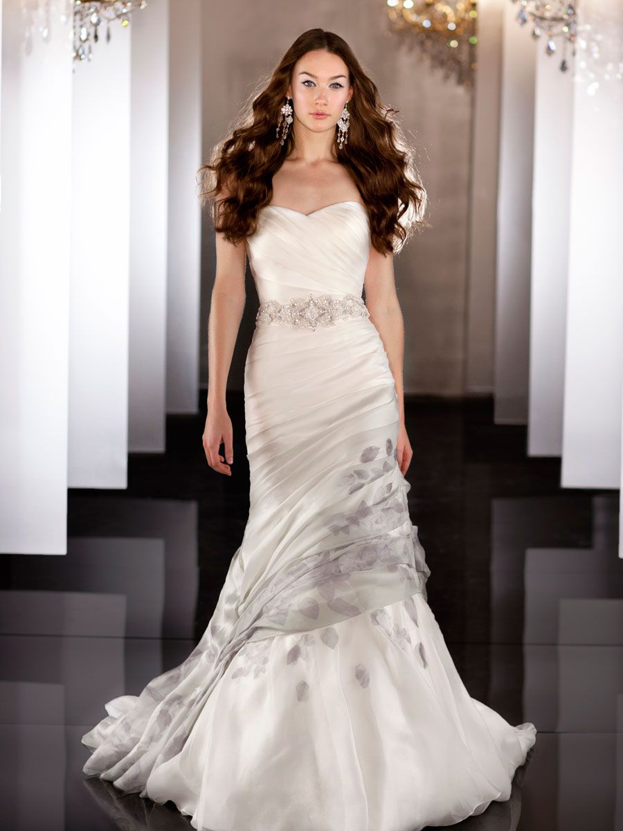 Silk Organza Fit Flare Sweetheart Asymmetrical Ruched Wedding Dress