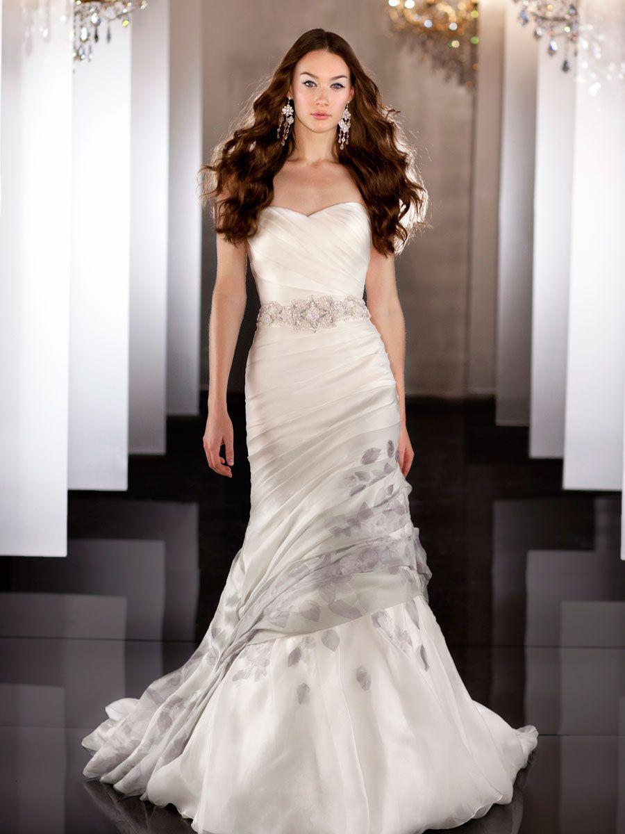 Silk Organza Fit Flare Sweetheart Asymmetrical Ruched Wedding Dress