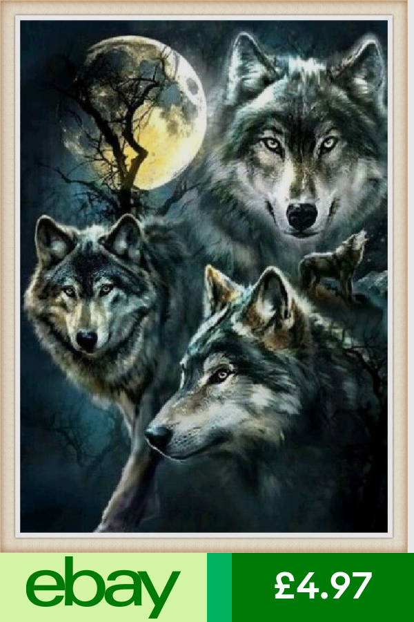 Hand Embroidery Kits Crafts Ebay Wolf Painting Wolf Wallpaper