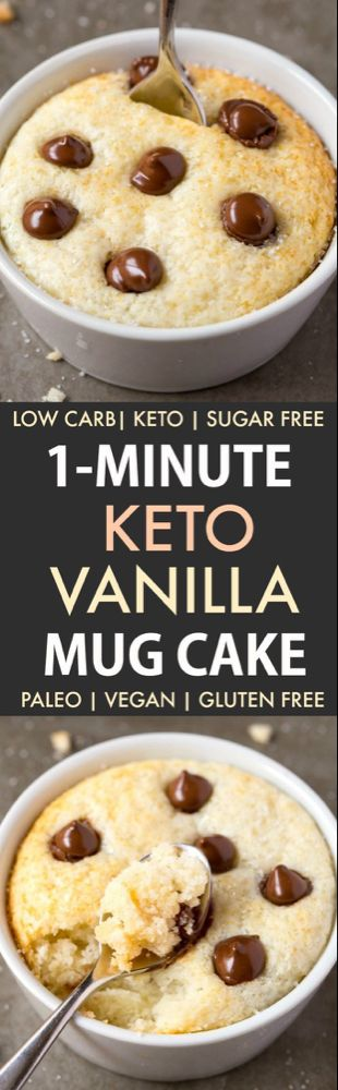 1-Minute Keto Vanilla Mug Cake (Paleo, Vegan, Sugar Free, Low Carb)- An easy mug cake recipe which takes one minute and is super fluffy, light and packed with protein! #keto #ketodessert #ketorecipe #mugcake | Recipe on thebigmansworld.com #proteinmugcakes