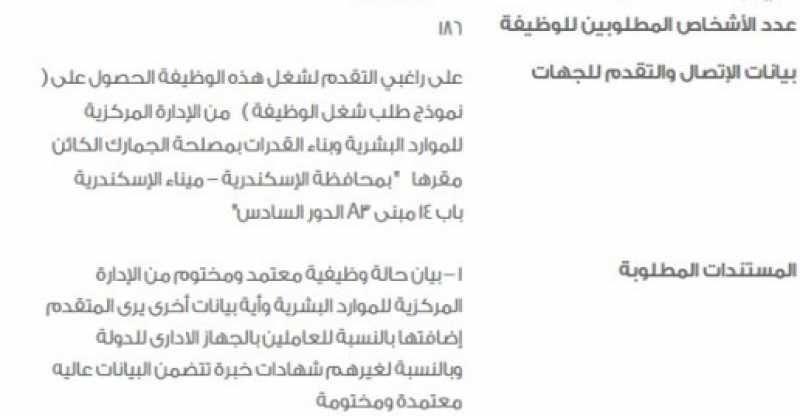 وظائف مصلحة الجمارك المصرية 2018 فى تخصصات متعددة العامة جميع المحافظات Egyptian Lilu Custom