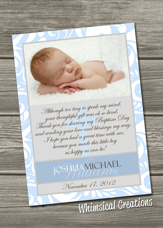 baptism thank you card christening thank you card digital file i