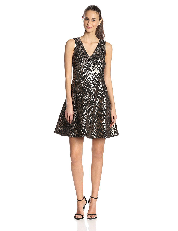 9da0fb6883a Vince Camuto Women s V-Neck Fit-and-Flare Jacquard Dress