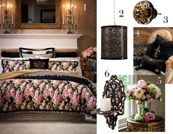 Vintage Schlafzimmer einrichten –verspielte Blumenmuster als Akzent ...