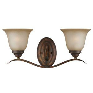Photo of Jeremiah McKinney Lighting – double bath light in Burleson bronze with light teastain glass – handmade