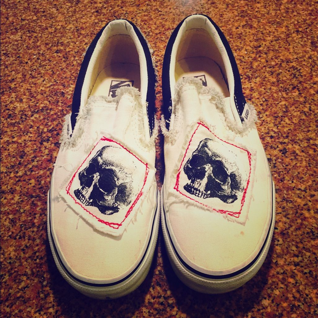 Skull Decorated Vans - Only Worn Once