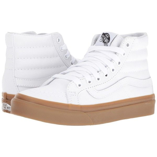 Vans SK8-Hi Slim ((Light Gum) True White) Skate Shoes ($60) ❤ liked on Polyvore featuring shoes, sneakers, high top skate shoes, leather high tops, vans shoes, white hi top sneakers and white leather high tops