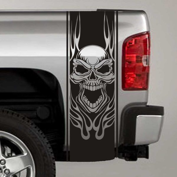 Skull Flames Truck Bed Stripe Decals Truck Bed Decals - Graphics for cars and trucksfull color flames graphics car truck decals truck decals