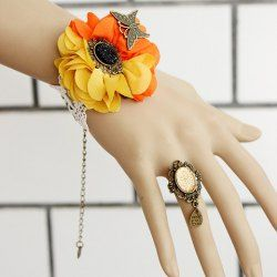 A Suit of Gothic Beads Flower Butterfly Bracelet And Ring For Women