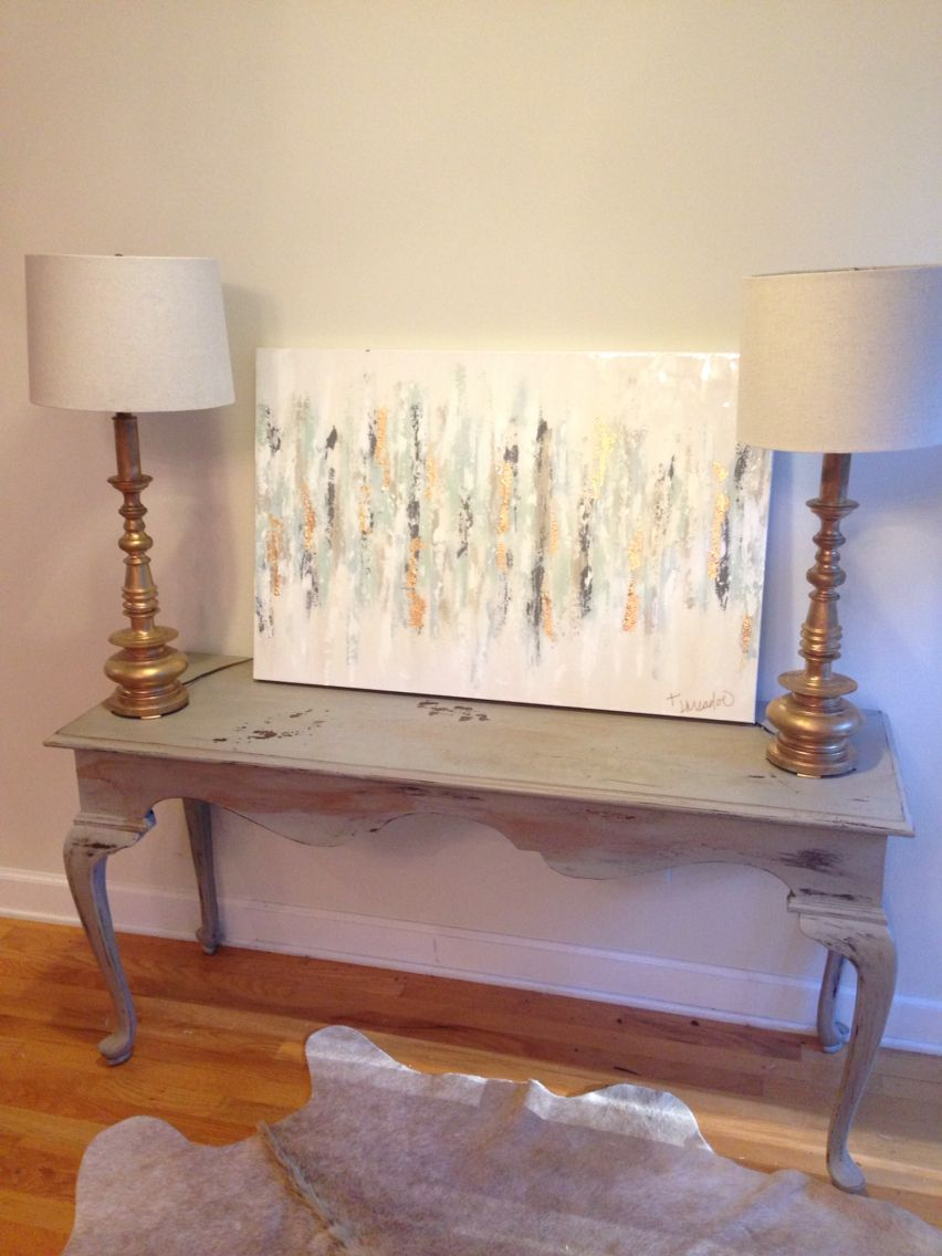 """Abstract art by Jenn Meador. 24""""x36"""", blues, grays, gold. Email to purchase jennmeadorpaint@gmail.com to view gallery www.jennmeadorpaint.com"""