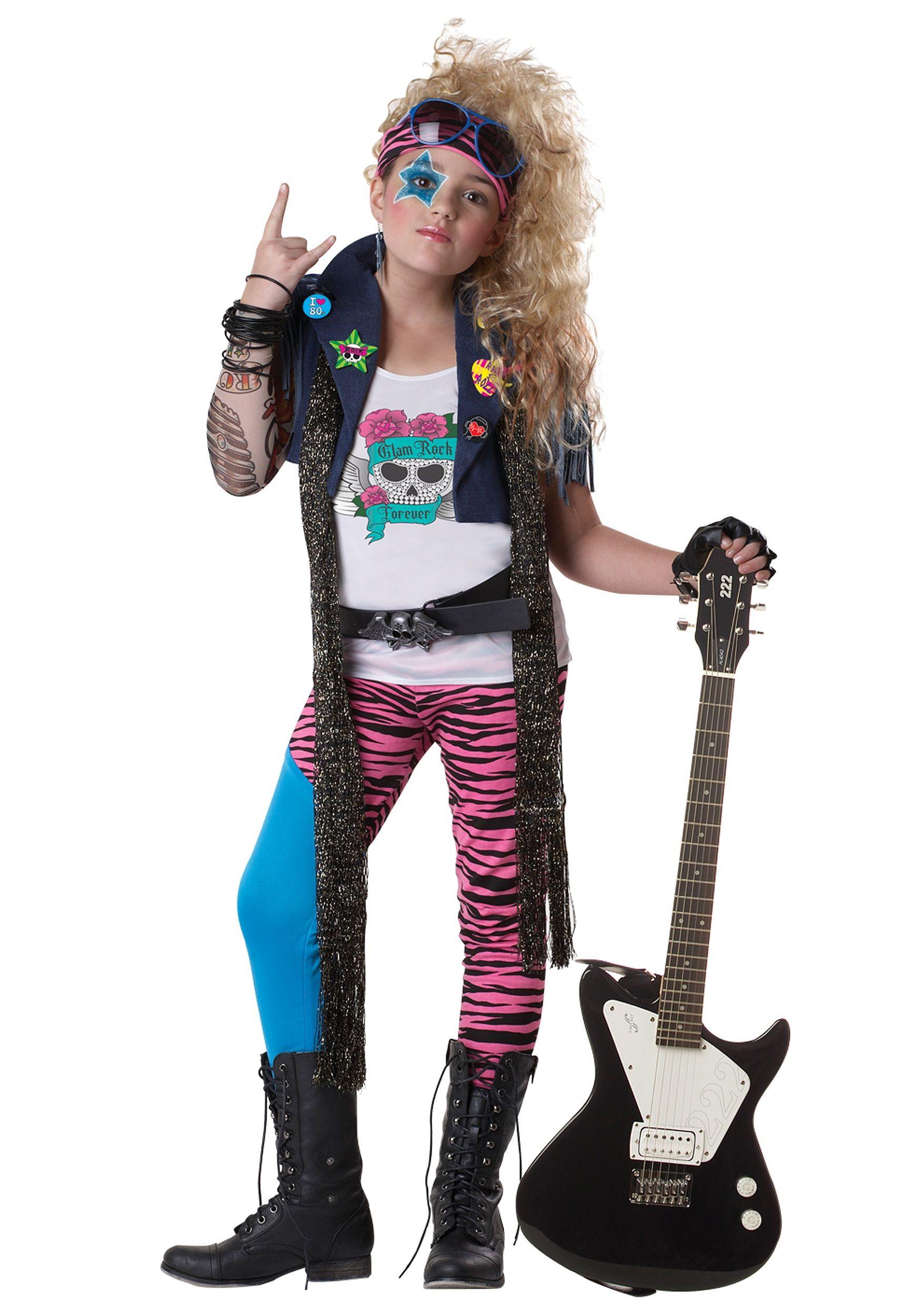 Rock Star 80\'s Glam Punk Rocker Child Costume | Retro halloween ...