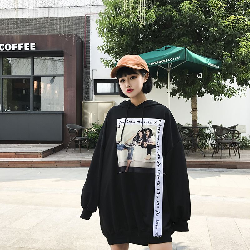 de0e60d5d8453 韓国 原宿系 ファッション レディース 長袖 パーカー カラフル ダンス 衣装 派手 カワ な 服 個性的 かわいい 奇抜 青文字系 ロング丈 トップス