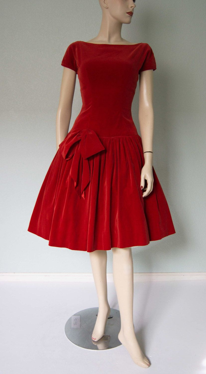f62d1e5e41a 1950s Nicely Made Red Velvet Holiday Party - Cocktail - Dinner and ...