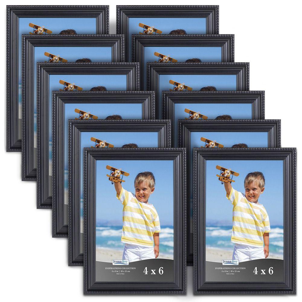 Black picture frames 4 x 6 inch 12 pack bulk set wall