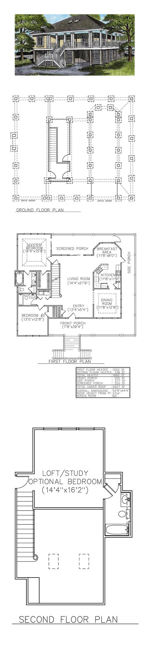 Coastal House Plan 45639   Coastal house plans, Bedrooms and House