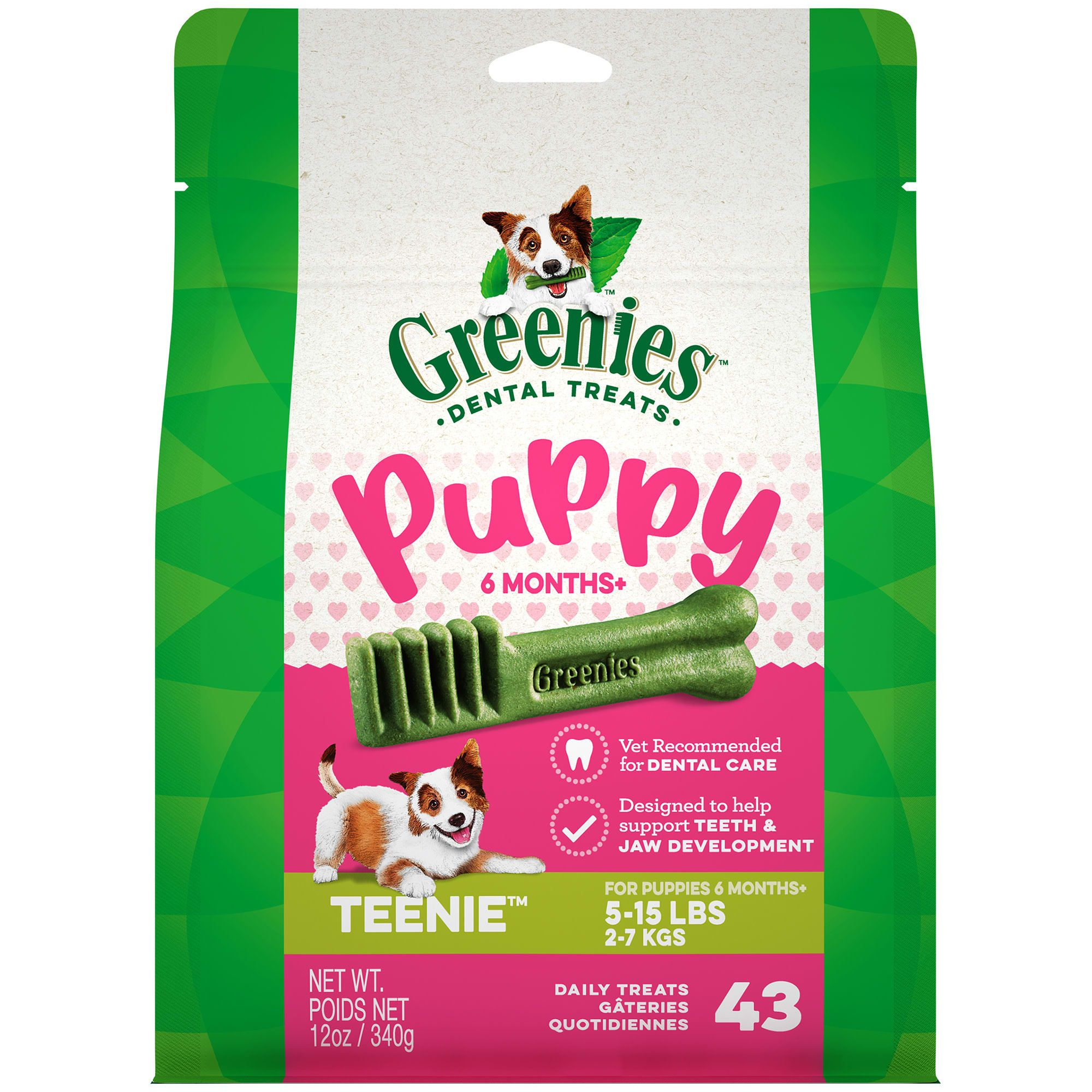 Greenies Puppy 6 Months Teenie Size Dental Treats 12 Oz Count Of 43 In 2020 Dog Dental Care Greenies Dog Treats Dental