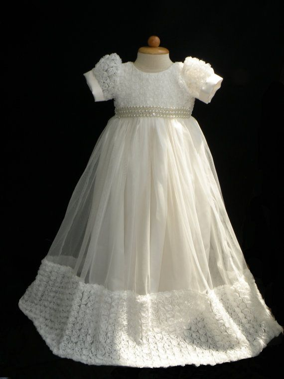 Custom Order for Kerri | Christening gowns, Rosettes and 12 months