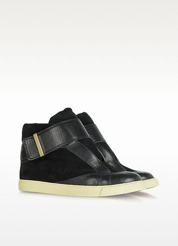 Black Suede and Leather Sneakers - See by Chloé